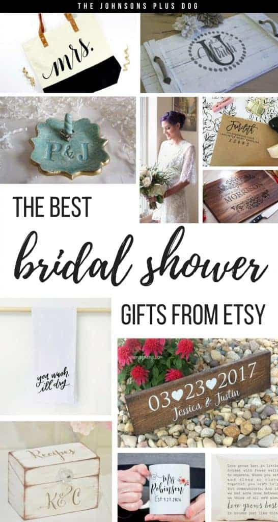 Collage of the bridal gifts including a tote bag with Mrs., wood tray with last name, ring holder with initials, cutting board with last name, personalized address return stamp, you wash, i'll dry towel, wedding anniversary date wood sign, recipe box with initials, Mrs. coffee mug, wedding song pillow with text overlay that says the best bridal shower gifts from Etsy