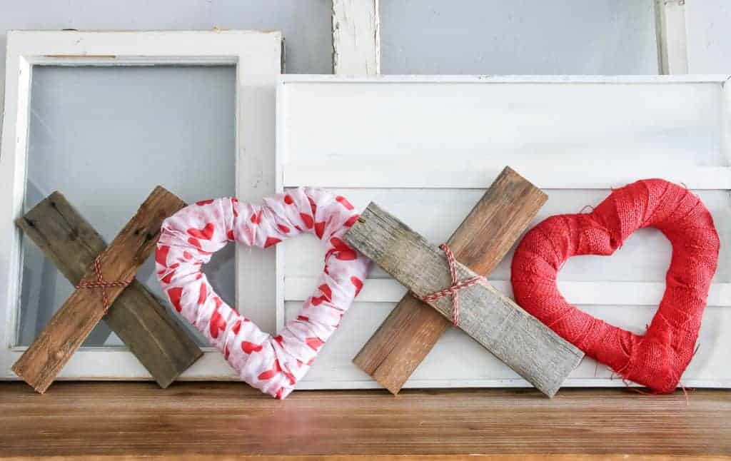 DIY XOXO Valentine's Day home decor on the top shelf