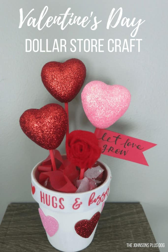 Valentine's Day Dollar Store Craft   DIY Valentine's Day Gift   Valentine's Day gift for teacher   Valentine's Day gift for nanny, Valentine's Day crafts, Valentine's Day decor, Valentines decorations, galentines party, Galentine's party ideas, potted hearts, hearts in a pot, pot of hearts, heart stems, Let Love Grow pot, Let Love Grow Dollar Store, Dollar Store Potted Plant, Dollar Store Pot of Hearts, Felt Rosette, Valentine's Day growing hearts, let love grow gift, DIY growing love, cheap DIY teacher gift