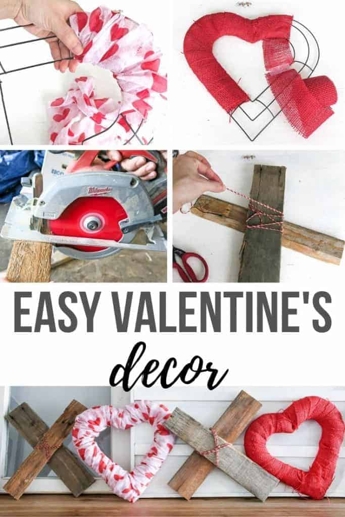 Collage of covering a wire shaped heart with crepe paper, covering heart shaped wire with red burlap, cutting wood with a miter saw, tying red and white rope on a piece of wood, and finished DIY XOXO Valentine's Day Home decor with text overlay that says Easy Valentine's Decor.