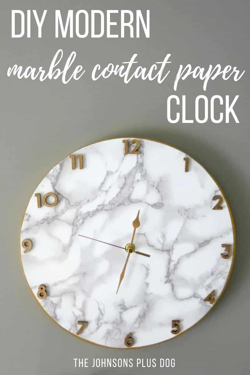 Marble Contact Paper Clock