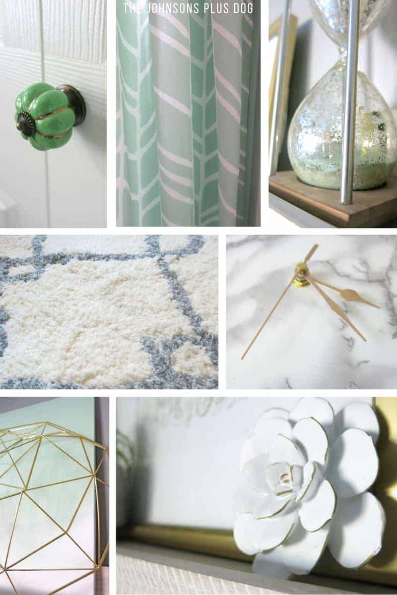 Collage of green door knob, mint green curtain, green sand hourglass, white rug, gold clock hands, gold geometric bowl and white succulent decor