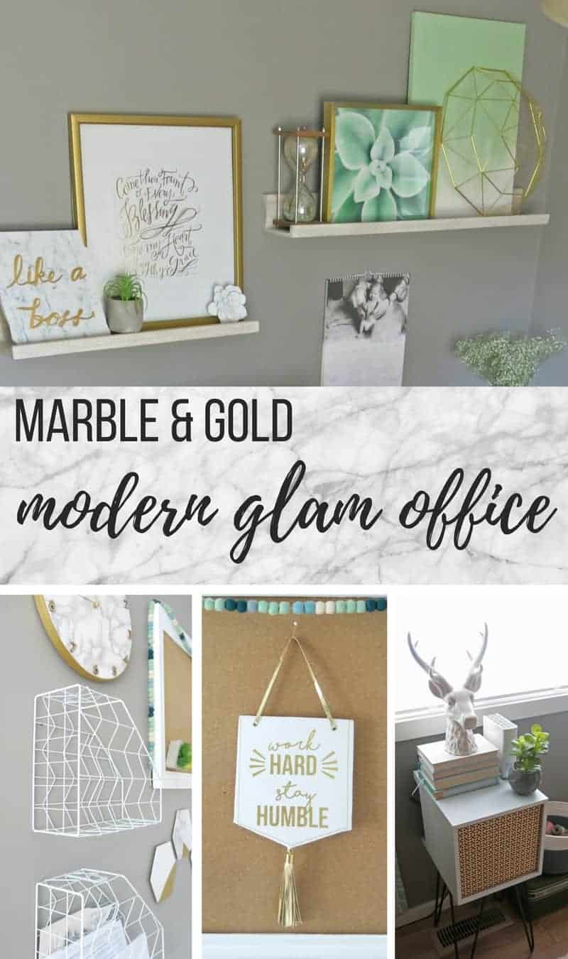 Collage of frames decorated above the shelves, white and gold command center, Word Hard Stay Humble wall hang, mid-century side table, glass stag head, stack of old books and geometric concrete succulent planter with text overlay that says Marble and Gold Modern Glam Office