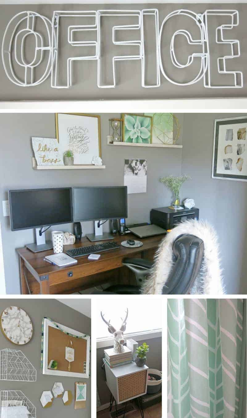 Collage of White office sign, frames and decor on the wall hang shelves, 2 computer monitors, printer, wooden office table, fur throw in the chair, marble wall click, white and gold command center, stag head, books, planter and mid-century side table and mint green curtains  white and gold command center | Marble and Gold Office | Mint Green Office | Mint Green and Gold | Details | Mid-Century Modern Office | Geometric Office | Marble Themed Office | Gold and Marble Home Decor | Mint Green Home Decor