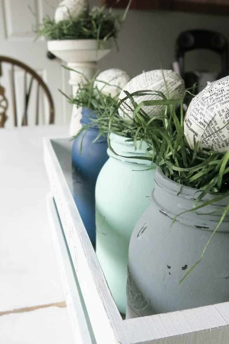These upcycled plastic Easter eggs are perfect for Easter centerpieces