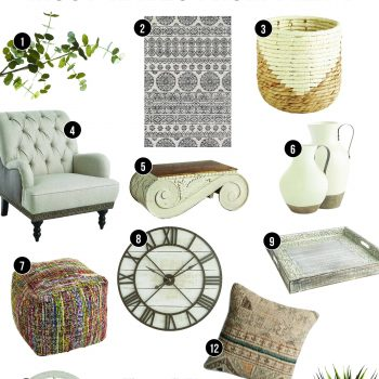 Boho Farmhouse Must-Haves From Pier 1 | Get the boho farmhouse look! | Pier 1 Farmhouse Style Decor | Boho Home Decor for Pier 1 | Eucalyptus Stem | Moroccan Print Rug | Boho Wicker Waste Basket | Farmhouse Armchair | Vintage Corbel Coffee Table | Farmhouse White Pitchers | Multi-Color Boho Floor Poof | Shiplap Rustic Clock | Wood Carved Tray | Window Mirror | Boho Pillow | Wood Bead Chandelier | Faux Agave Plant | Mixing boho and farmhouse | How to blend home decor styles