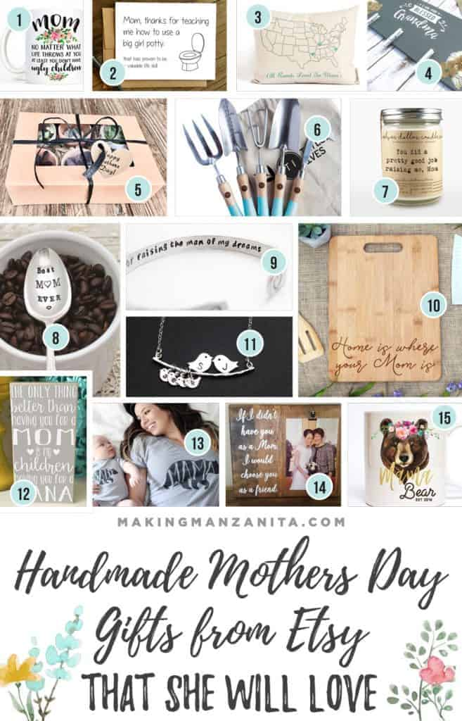 Photo collage with creative Mother's Day gifts and a text overlay that says Handmade Mothers Day Gifts From Etsy that she will love