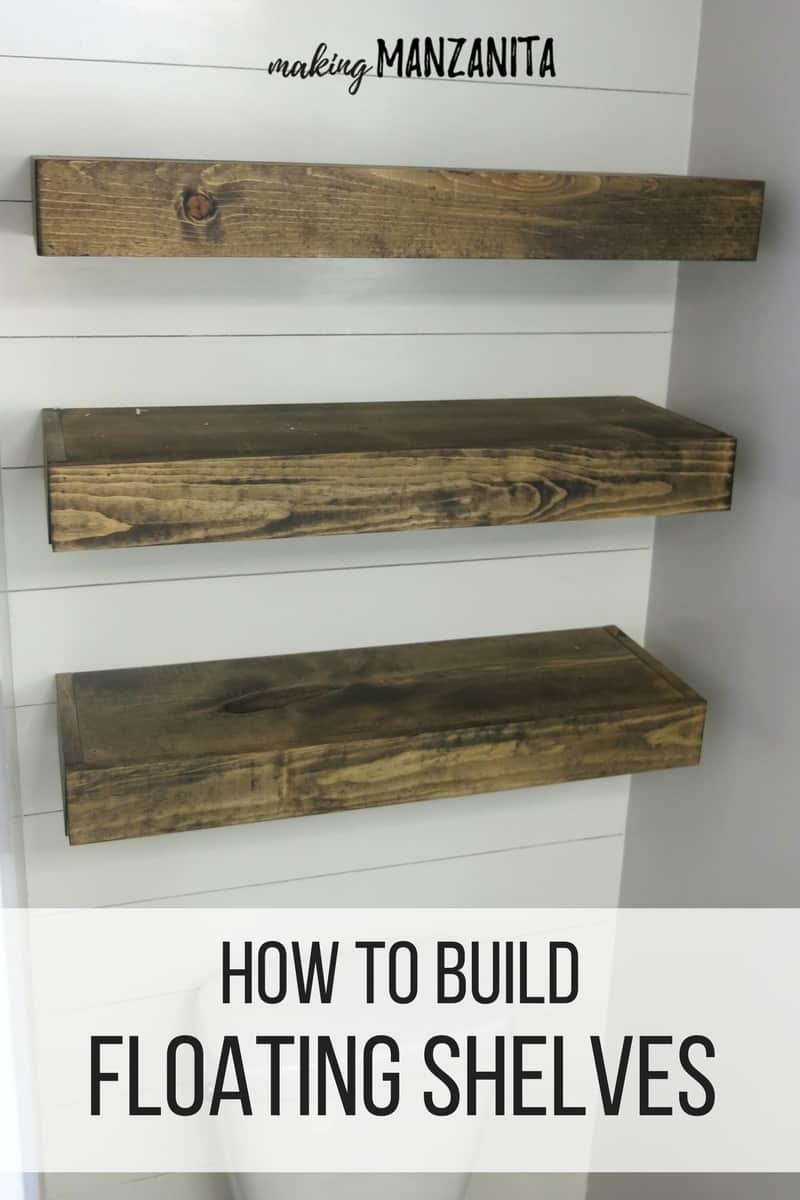 Three wood bathroom floating shelves on a shiplap wall with text over lay that says how to build floating shelves