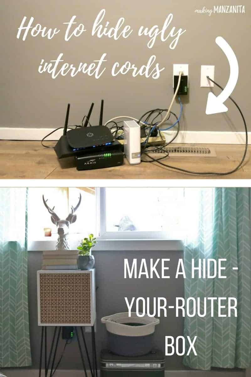 an image split into two stacked images, the top image is a messy pile of network equipment and cables...with a text overlay that says... how to hide ugly internet cords, the bottom image is of a decorative table with various decor on it ...with a text overlay that says... make a hide your router box