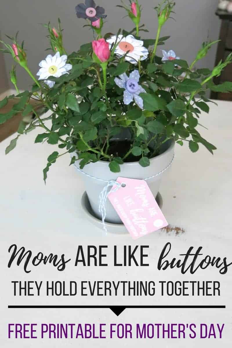Moms are like buttons printable for Mother's Day & DIY Button flowers | How to make flowers with buttons | Using buttons to make flowers | Button crafts | Gift idea for Mother's Day | Mother's Day Gift DIY | Free Printable for Mother's Day | Mom's Day Gift | DIY for Mom's Day | Making flowers with buttons | Make flowers with floral wire, paper flowers and buttons | Add buttons flowers to potted plant