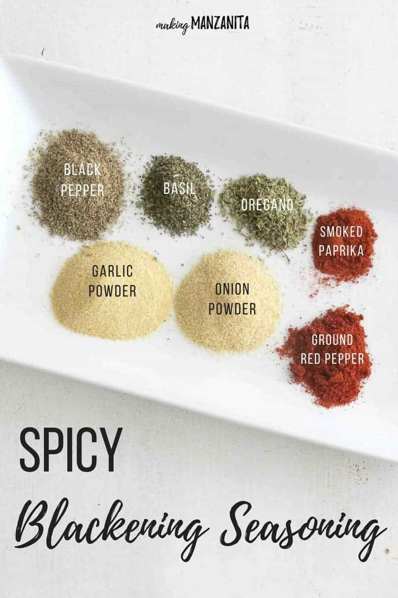 DIY Blackening Seasoning | Great on burgers and fish! | Spicy Blackening Seasoning | Seasoning to blacken burgers and fish | Great Father's Day Gift idea | Black pepper, basil, oregano, smoked paprika, garlic powder, onion powder, ground red pepper | Click for rub recipe!