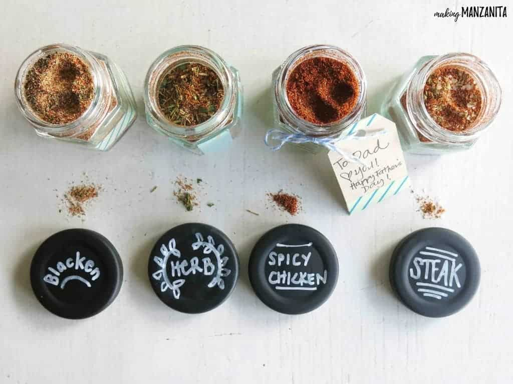 DIY Spice Rubs for Father's Day Gifts | Easy DIY gift for Father's Day | Father's Day Gift Idea | Make your own spice jars | Make your own spice rubs | DIY Spice rubs for meat | Blackening Seasoning | Dry Herb Rub | Spicy Chicken Rub | Steak Seasoning | Gifts for Father's Day that kids can make | Easy Father's Day DIY | Gift for him | Gift for dad | Gift for husband | Easy DIY Gift for Dad | Kid's DIYs for Fathers Day | Dads Day Gifts | Dad's Day Gift Idea