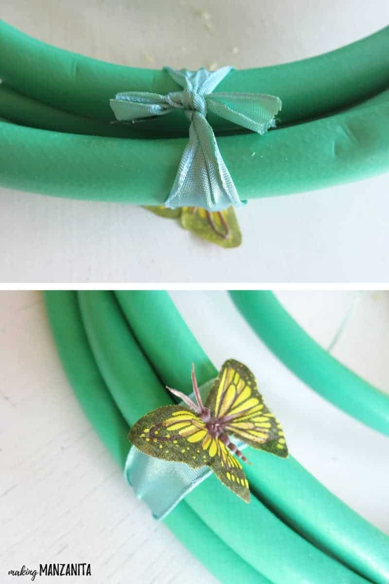 Attaching a fake butterfly to the front corner of a garden house wreath make for summertime