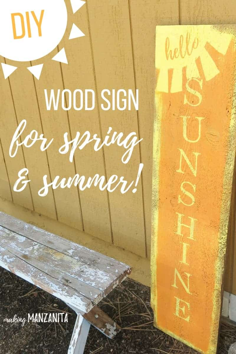 DIY Hello Sunshine Wood Sign for Spring and Summer | Easy DIY Wood Sign for the your front porch | Sunshine Sign for front of your house | Large sign for your front door for summer | Summer porch ideas | Spring porch ideas | Make your own hello sunshine sign | Wood sign with hello sunshine | Wood sign with a sun | Easy wood sign | Painted wood sign that says Hello Sunshine | Sign for summer | Sign for spring | Spring decor ideas | Summer decor ideas for outside