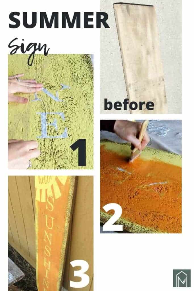 Step by step tutorial photos numbered in a collage showing how to make a DIY hello sunshine sign with paint and stencils on reclaimed wood
