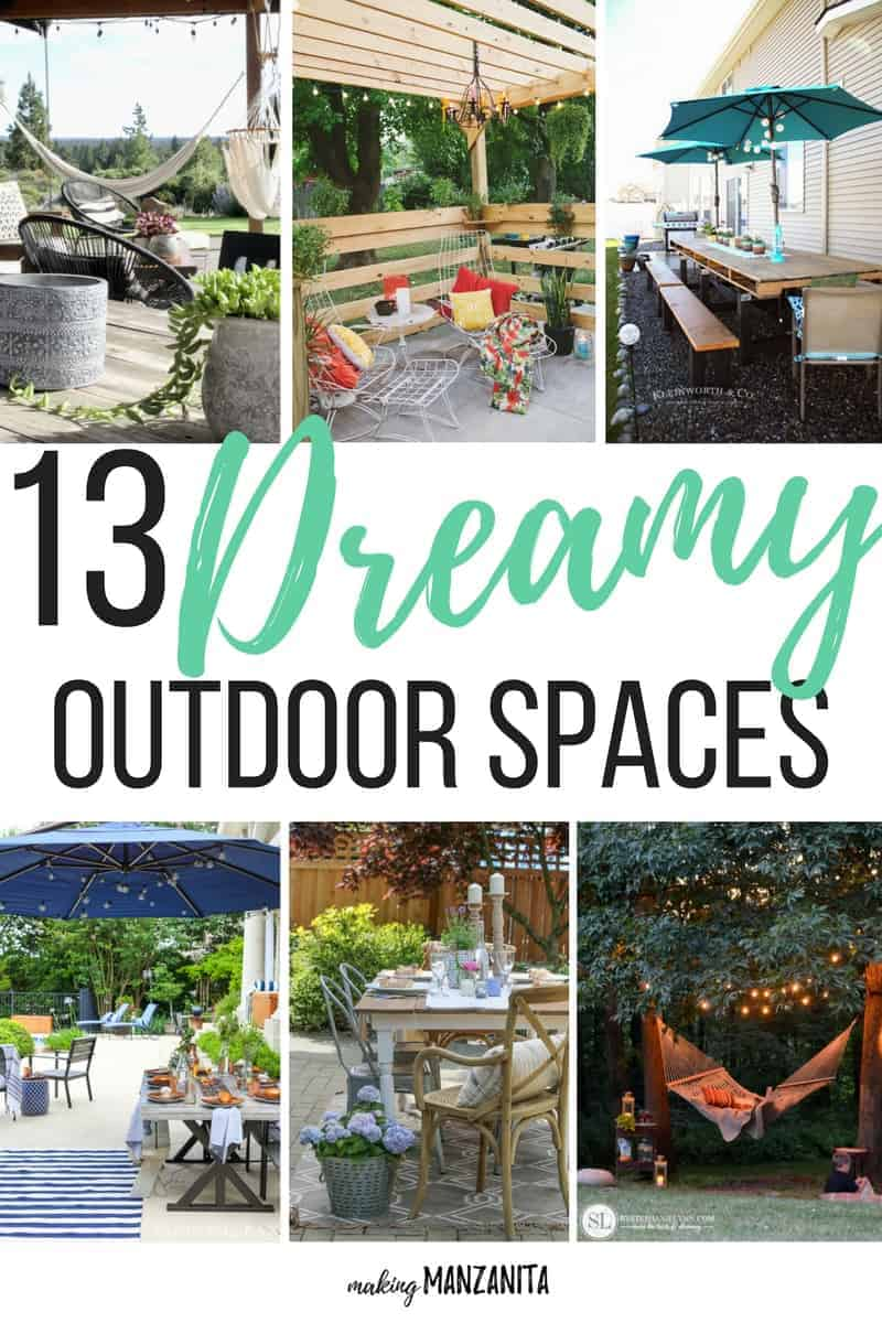 13 Dreamy Outdoor Spaces | Outdoor Decor | Backyard Oasis | Outdoor Dining | Porch Decorations | Pallet Wood Dining Table for Outdoors | Pergola | DIY Backyard Spaces | Backyard Hang Out | Front Porch Decorations | How to decorate outside | How to landscape | Backyards | Landscape Design | Outdoor Hang Out Areas | Outside Spaces | Summer Outdoor Areas