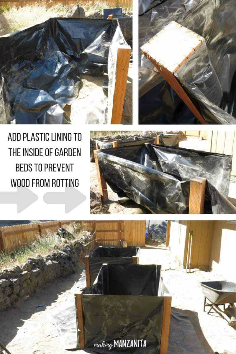 Add plastic lining to the inside of garden beds to prevent wood from rotting | How to make wood garden beds that don't rot | Preventing wood garden beds from rotting