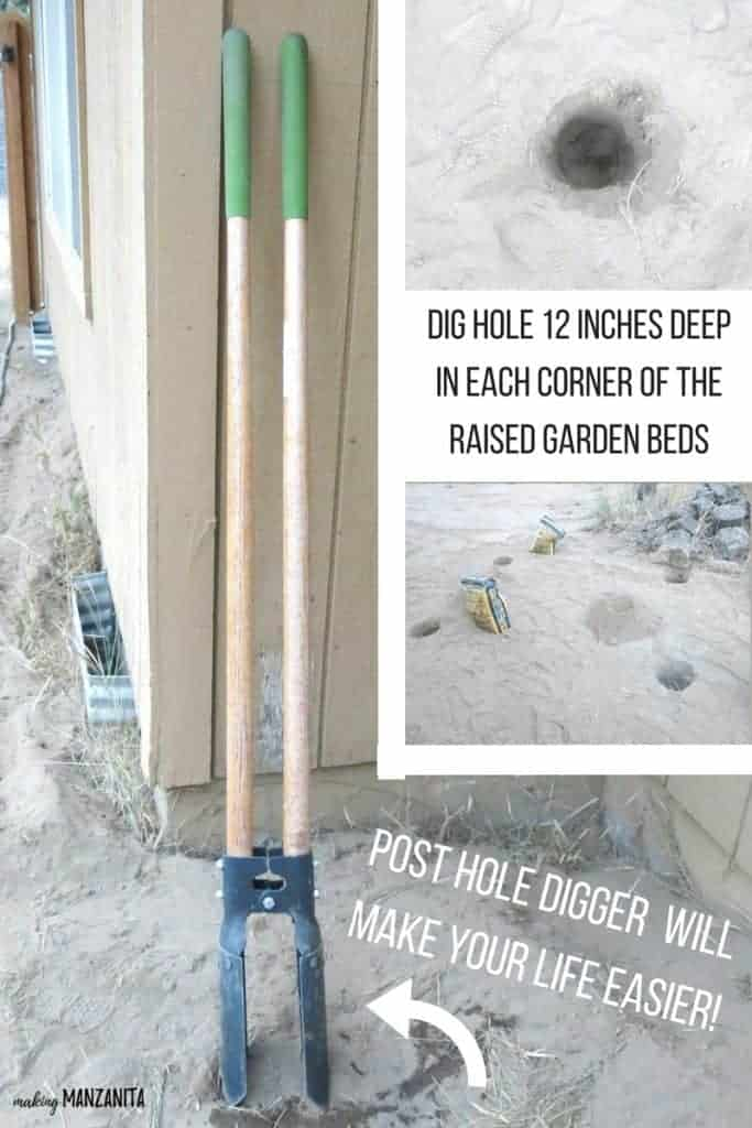 Grid of post hole digger leaning on the wall, closer view of the hole on the snd and three holes on the ground beside the sacks with text overlay that says post hole digger will make your life easier and dig hole 12 inches deep in each corner of the raised garden beds