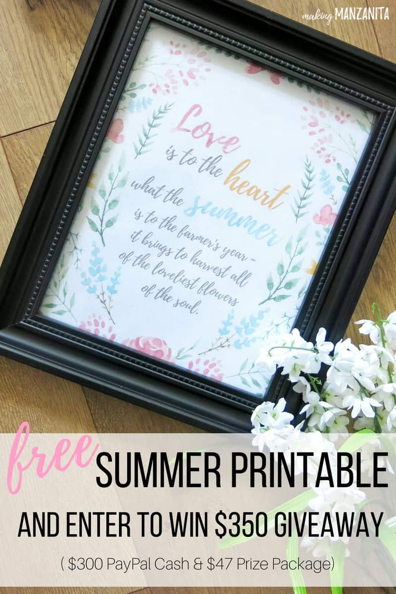 Free Summer Printable | Printable for Summer | Summer Decor You Can Print Out | How to decorate for Summer for free | Summer decor | Summer home decor | Giveaway | Summer Giveaway | Free Summer Wall Decor | Summer Gallery Wall Decor | Printable with watercolor flowers | Love is to the heart what the summer is to the farmer's year - it brings to harvest all of the loveliest flowers of the soul.