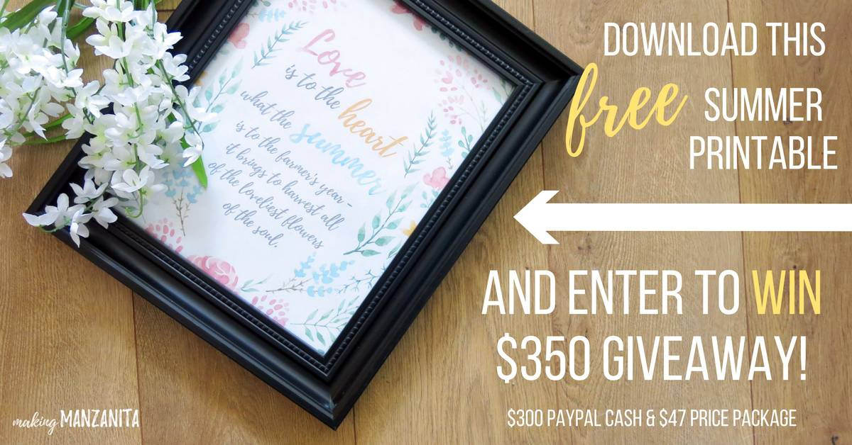 Free Summer Printable   Printable for Summer   Summer Decor You Can Print Out   How to decorate for Summer for free   Summer decor   Summer home decor   Giveaway   Summer Giveaway   Free Summer Wall Decor   Summer Gallery Wall Decor   Printable with watercolor flowers   Love is to the heart what the summer is to the farmer's year - it brings to harvest all of the loveliest flowers of the soul.