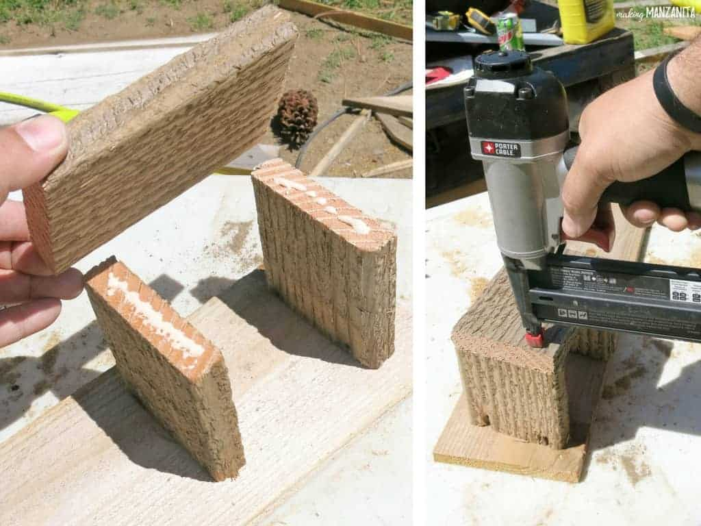 "Left side of photo shows three pieces of wood getting glued together in the shape of a ""U"" and right side of photo shows the ""U"" shape getting nailed together with nail gun"