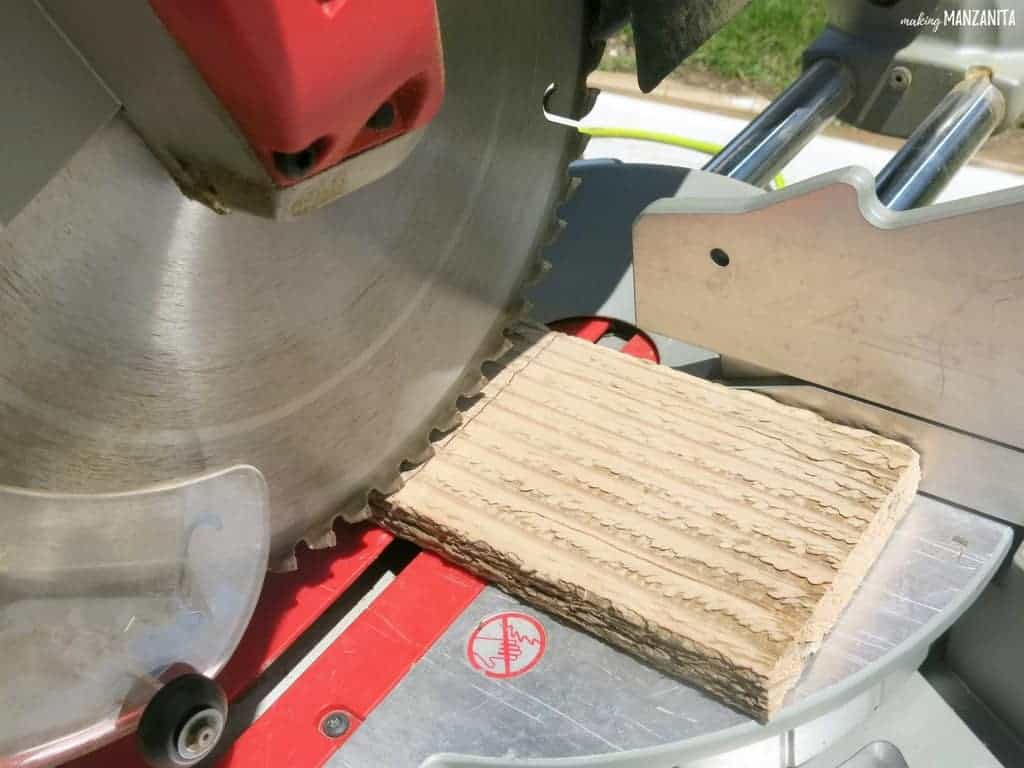 Miter saw cutting pallet wood