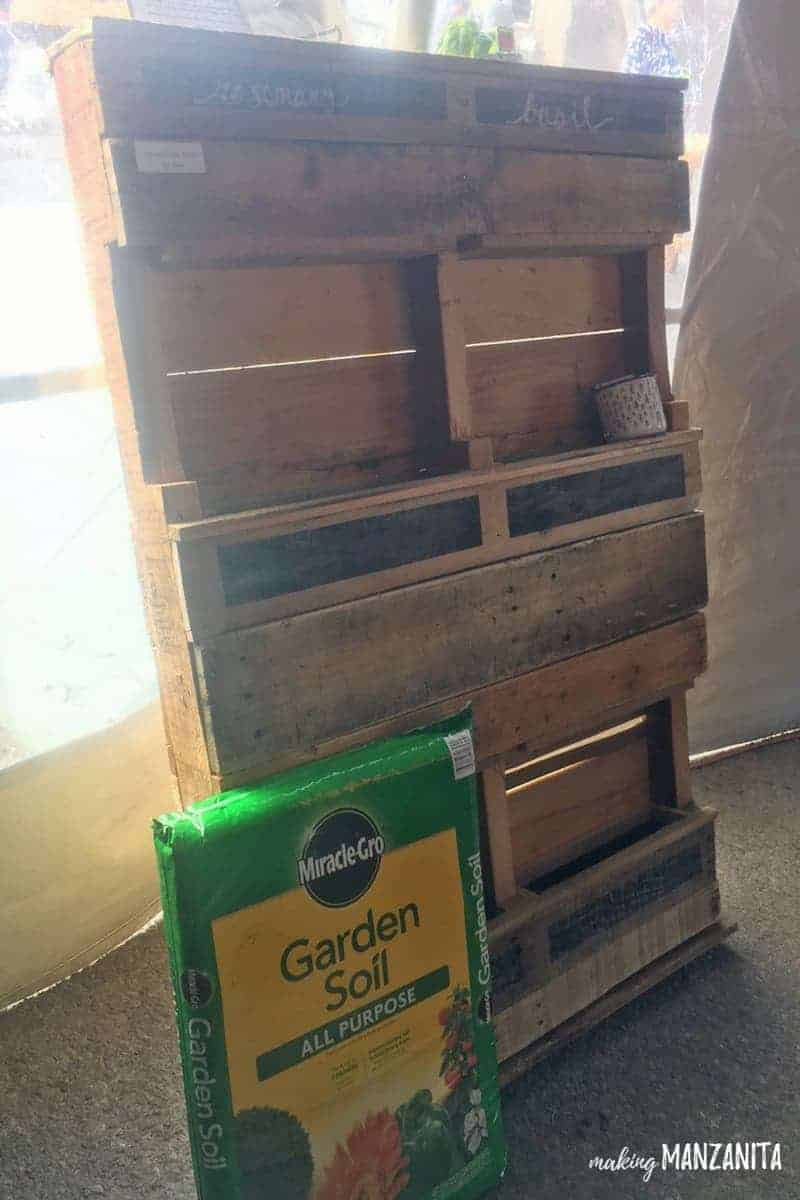 Vertical Garden with A Pallet | Pallet Vertical Garden | Pallet Garden | Pallet Standing Garden | Turn a Pallet Into A Herb Garden | Herb Garden Made With A Pallet | How to use pallets in your garden | Small backyard garden | Small space gardening | Patio garden | Garden for a balcony | Renter friendly garden