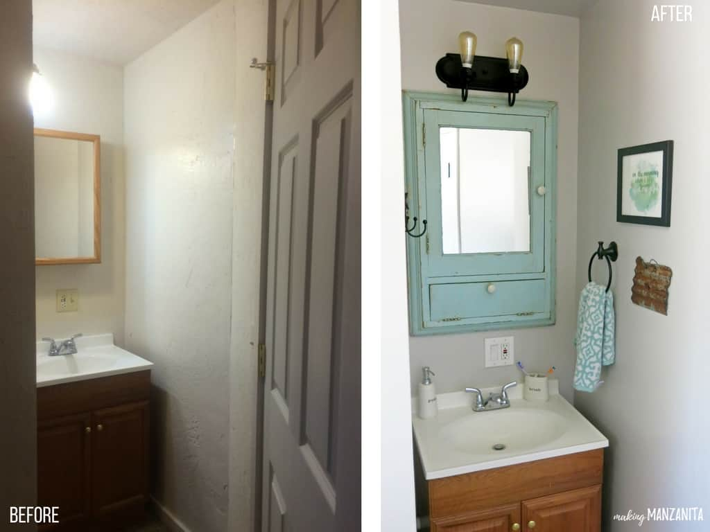 Before and After | Farmhouse Bathroom with Fixer Upper Style
