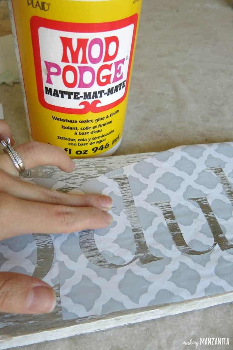 Rub Mod Podge over stencil to prevent bleeding when sign making | Farmhouse sign making tips | How to avoid your sign stencil from bleeding | White Chippy Paint Wood Sign For Farmhouse Bathroom | Chipped Paint Wood Sign | Farmhouse Sign with Chippy Paint | Rub A Dub Dub Sign For Bathroom | Farmhouse Bathroom Wood Sign | Farmhouse Sign for Bathroom | Bath Time Sign | Bathroom Decor | Bathroom Wall Decor | DIY Chippy Paint Wall Decor | Reclaimed Wood Sign | Making a sign with chippy paint
