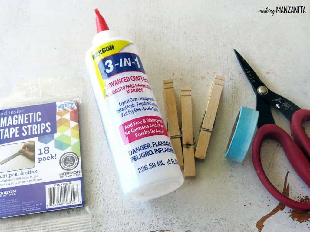 Magnetic strips, craft glue, wood clothespins, washi tape and scissors as materials for DIY clothespin magnets with washi tape