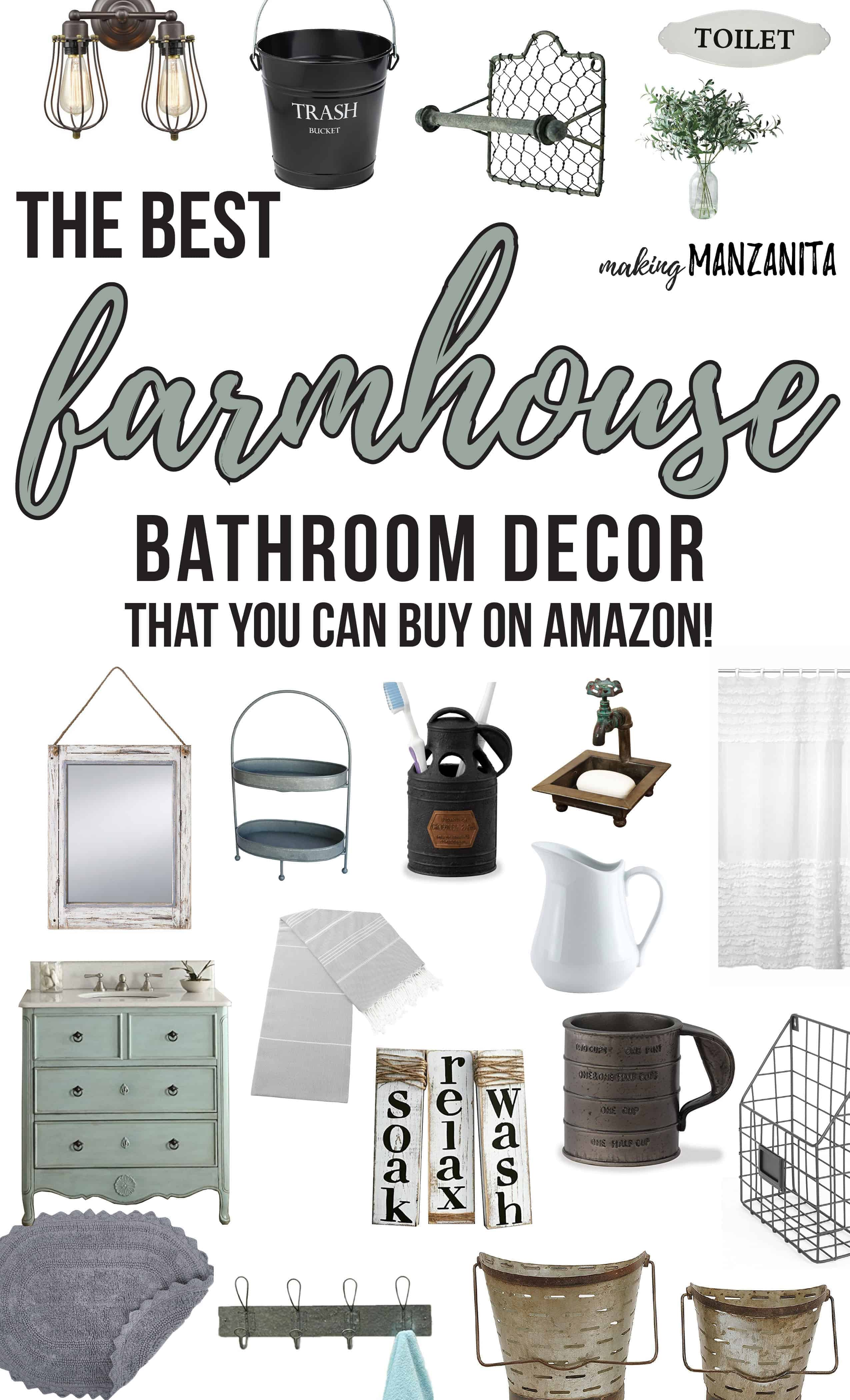 The Best Farmhouse Bathroom Decor That You Can Buy On Amazon! | Farmhouse Decor for Bathrooms | How to decorate bathrooms in farmhouse style | Fixer Upper Bathroom | Bathrooms That Look Like Fixer Upper | Get the fixer upper look in your bathroom | Where to buy farmhouse decor | Bathroom in Farmhouse Style | Farmhouse Decor Buying Guide | Shopping Guide for Bathrooms | Decorating in the farmhouse style | Farmhouse trend | Bathroom Decorations | Bathroom Lighting | Olive Buckets | Farmhouse Vanity Cabinet