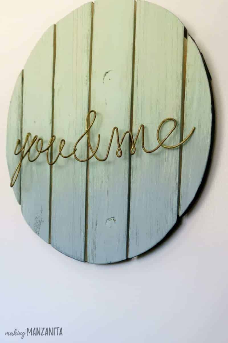 Ombre Painted Wood Circle Sign with Mint Green & Blue with You and Me in wire letters