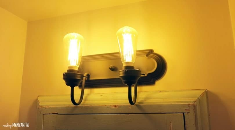 Vintage Light for Farmhouse Style Bathroom with edison bulbs
