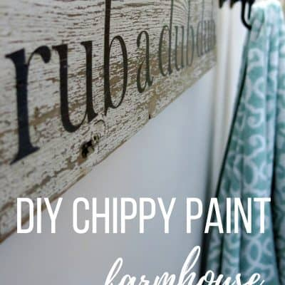 Rub A Dub Dub: White Chippy Paint Sign for Farmhouse Bathroom