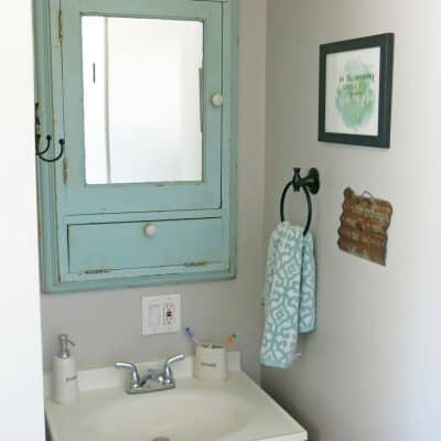 Add A Vintage Medicine Cabinet for Farmhouse Bathroom Charm
