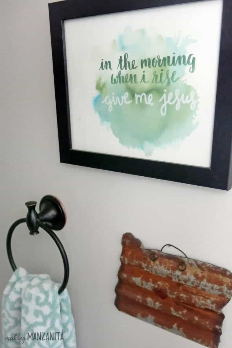 In The Morning When I Rise, Give Me Jesus Watercolor Art | Metal Oregon Cut Out | Farmhouse Style Decor for Master Bathroom
