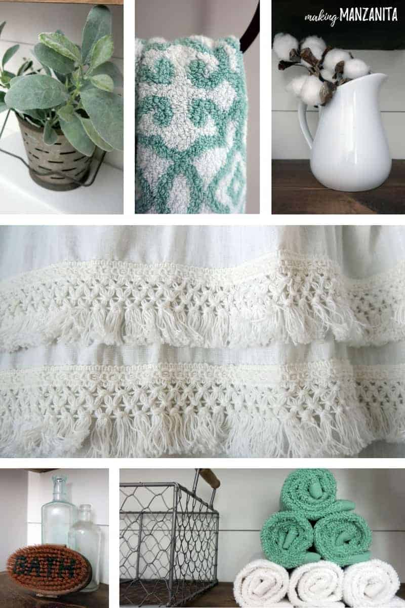Collage of farmhouse style bathroom decor detail photos