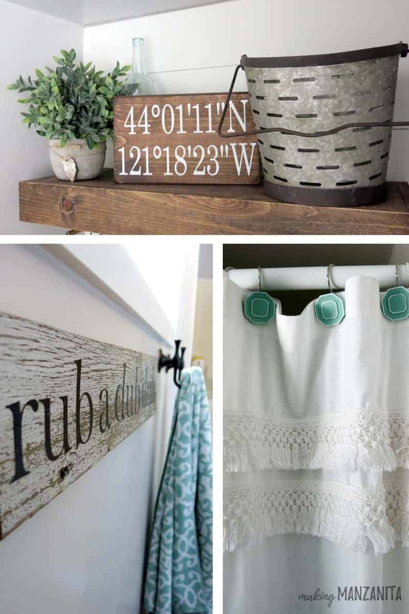 Collage of farmhouse bathroom decorations