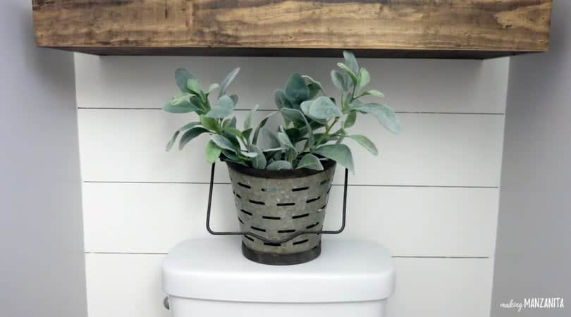 Lambs Ear in Olive Bucket | How to decorate the top of a toilet | Farmhouse Style Bathroom