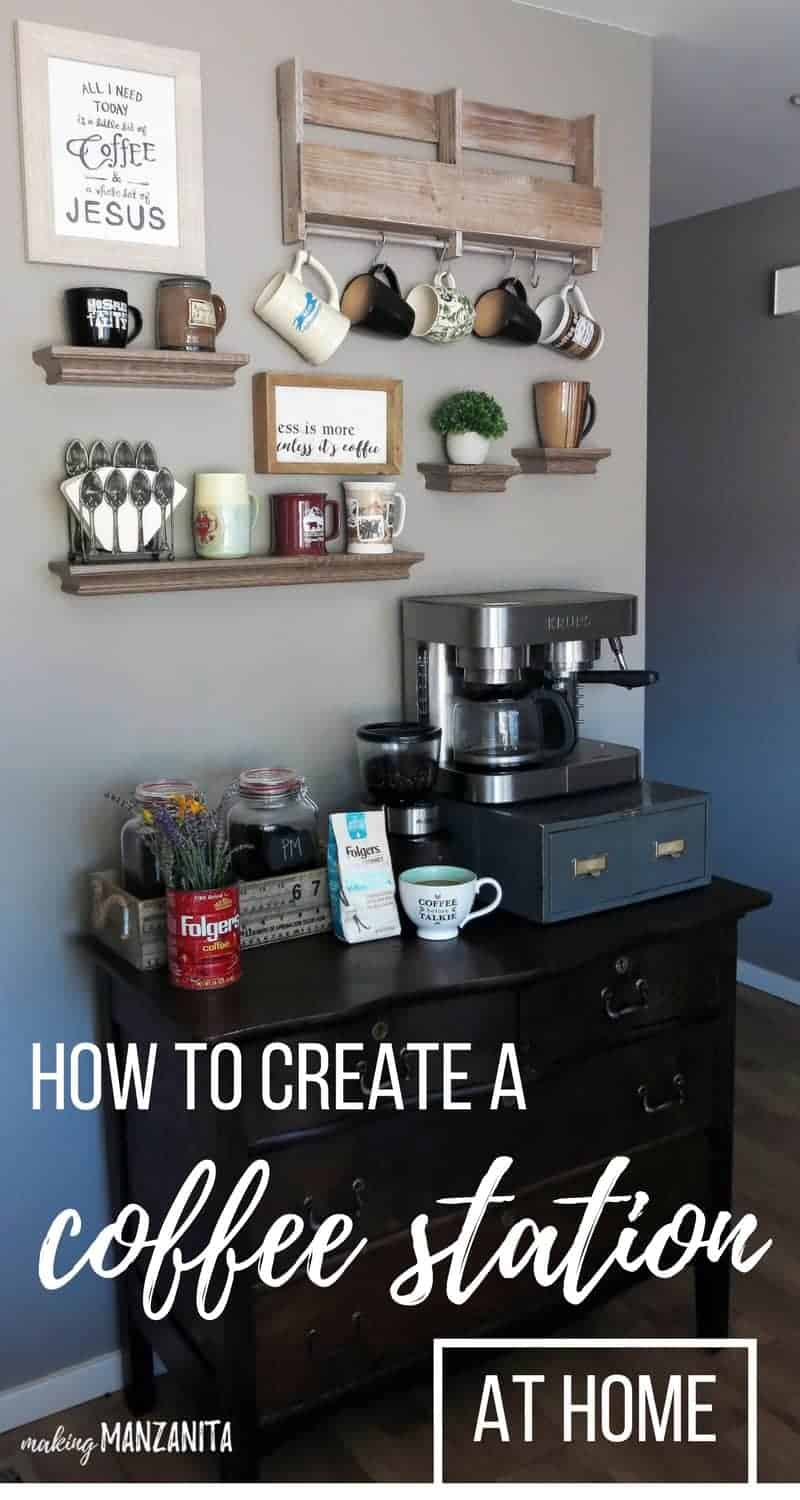 shows a gray wall decorated with coffee cup hangers and shelves holding coffee mugs and a cabinet with a coffee maker with a coffee grinder and coffee beans on a black cabinet with overlay text that says how to create a coffee station at home