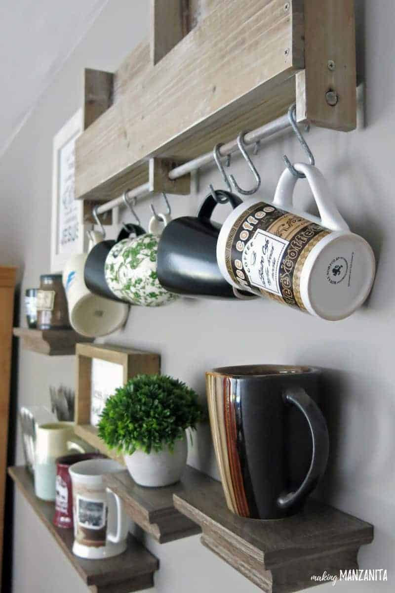 Store your mugs on the wall with shelves and hooks | Mug storage ideas | Mug display above coffee mar | Wall of mugs | Mug display on wall