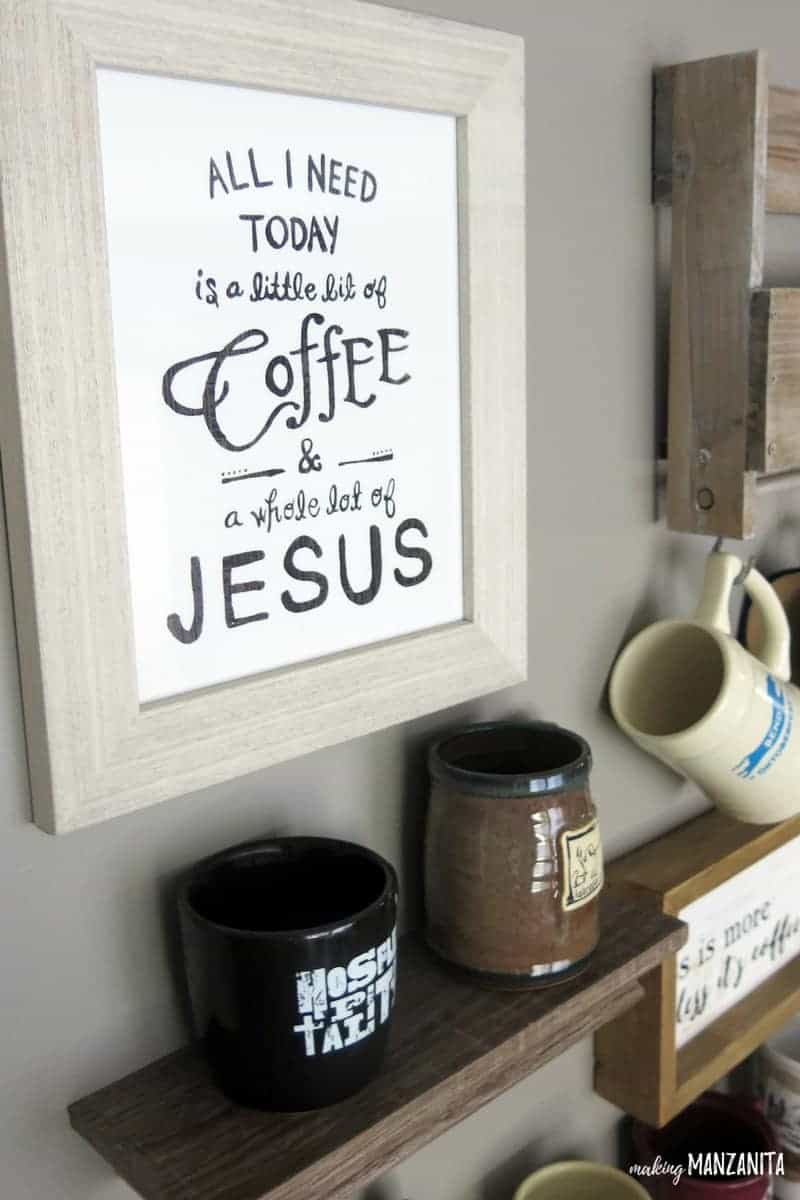 All I need today is a little bit of coffee & a whole lot of Jesus | Coffee decor | Coffee wall decor | Decorations for coffee bar | Coffee inspired decor | How to decorate a coffee station