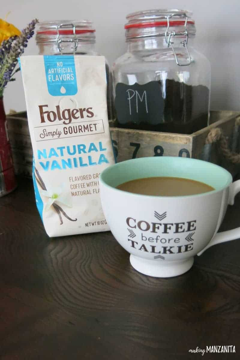 New Folgers Simply Gourmet | Natural Vanilla Flavored Coffee | Coffee Before Talkie mug