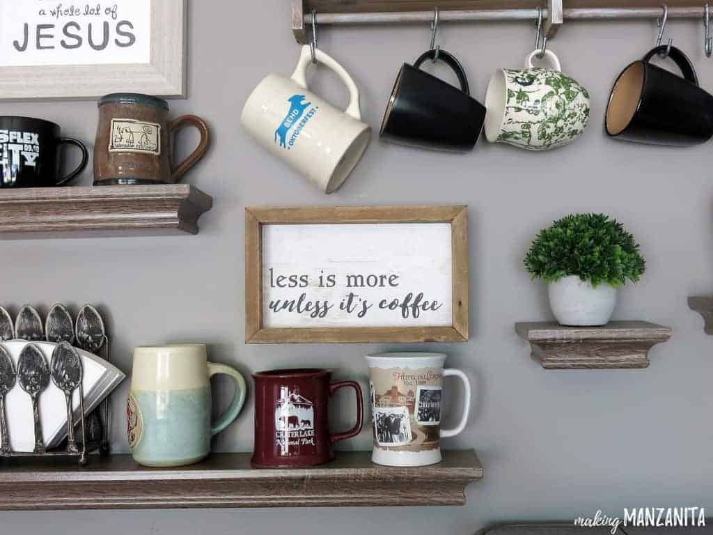 Less is More, unless it's coffee | Coffee wall decor for coffee bar | Mug display with coffee cups