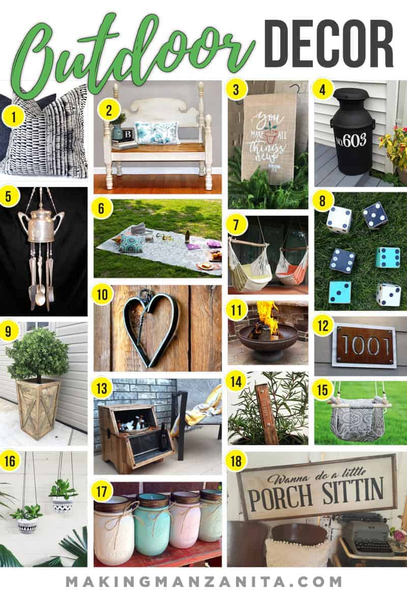 Outdoor Decor from Etsy | Outside Decorations | How to decorate outside | How to decorate yard | Garden pillows | Outdoor Bench | Garden flag | Wind Chimes | Backyard Blanket | Hammock Chairs | Yard Games | Lawn Games | Planter Boxes | Heart Dinner Bell | Metal Fire Pit | Address Sign | Backyard Cooler | Garden Markers | Baby Swing | Hanging Planter | Outdoor Candles | Front Porch Decor | Decorate outside | How to decorate your porch |