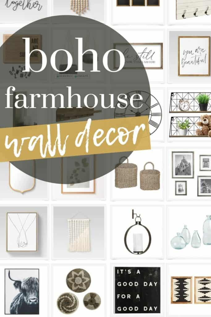 These wall decor products all fit together to create a boho farmhouse gallery wall that has so much character and style.
