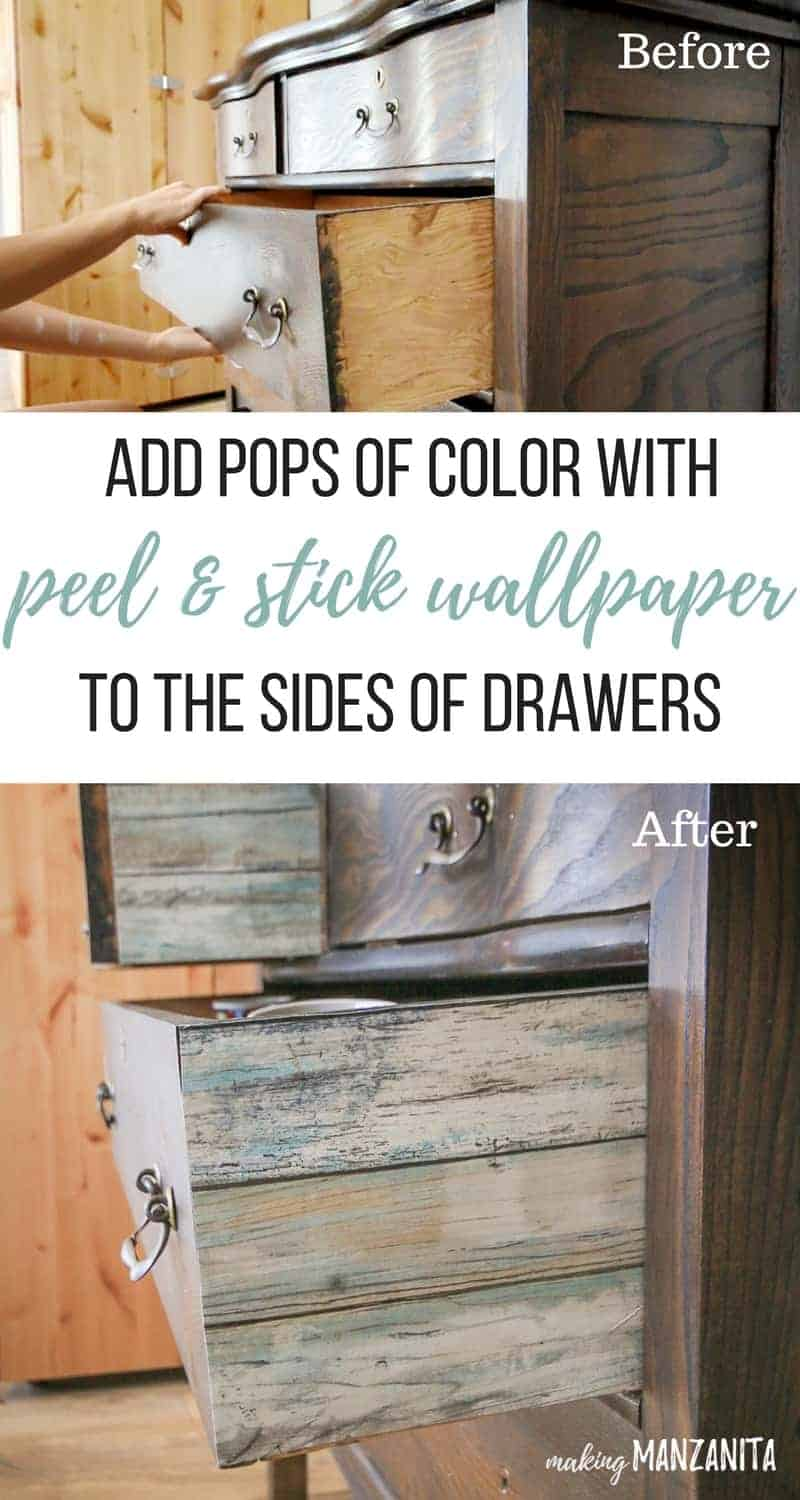 shows before and after comparison with the addition of adding wallpaper to dresser drawers with text overlay that says add pops of color with peel and stick wallpaper to the sides of drawers