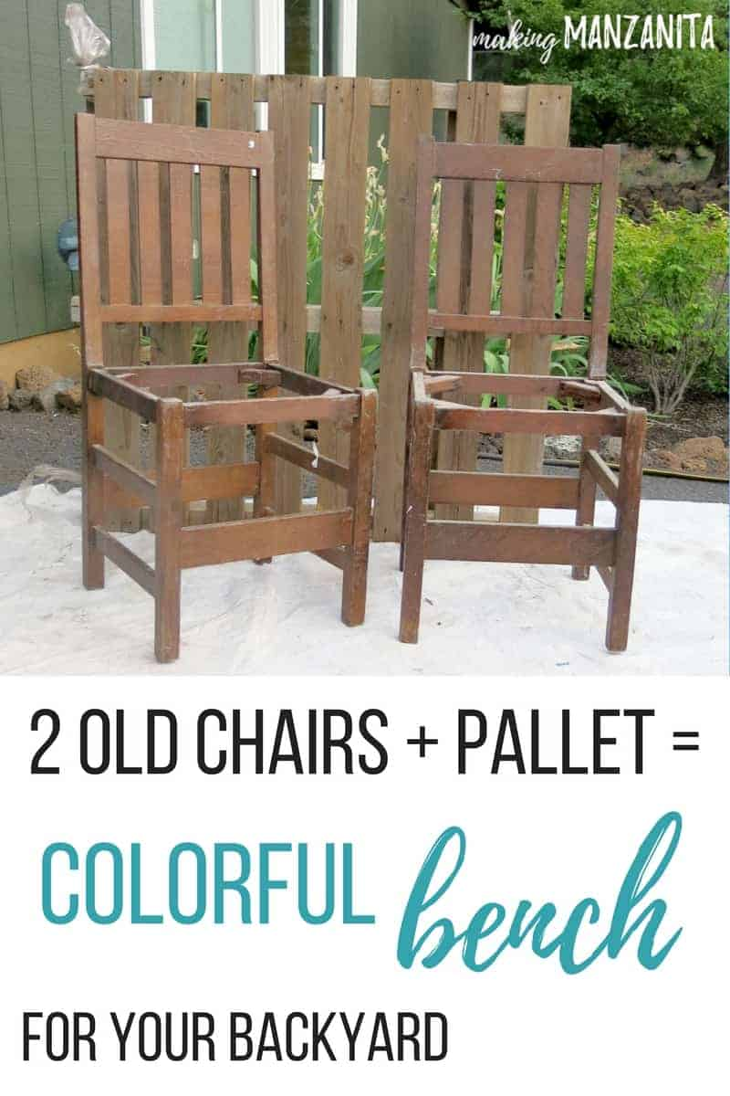 2 old chairs + pallet = colorful bench for your backyard | Upcycle 2 old chairs into a bench | Repurposed chairs turned into an outdoor bench | DIY outdoor bench with thrift store bench | Painting outdoor furniture | DIY Outdoor furniture with thrift store chairs and an old pallet | 2 chairs turned into bench | Bench made from chairs | Painting wood chairs | How to create bench from chairs | Recycled chairs | Upcycle furniture projects | Backyard DIYs | DIY seating for your backyard | DIY for Summer