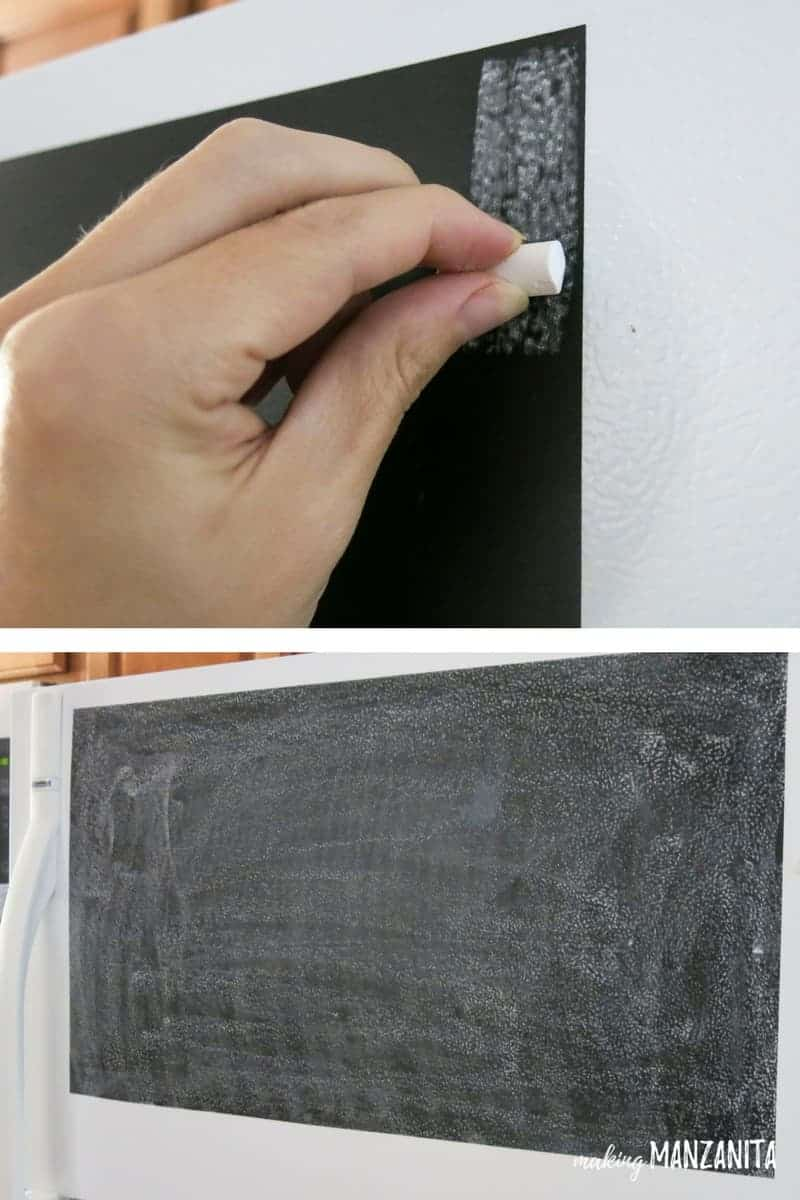 Always season your chalkboard surface before using it for the first time. All you do is take a piece of chalk and turn it on its side and rub it all over and multiple directions. Then erase! | How to season your chalkboard | How to prep your chalk board surface