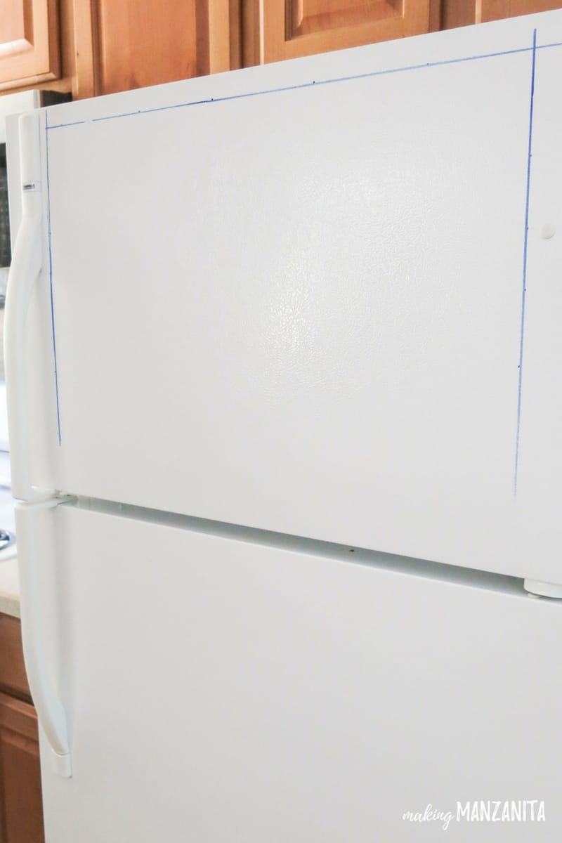 Use a dry erase marker to mark straight guide lines for your command center on the fridge!
